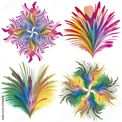 Set of baroque vector flowers in rainbow colors
