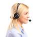 Portrait of a blond female customer service operator wearing a h