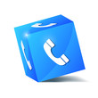 blue service phone cube vector illustration