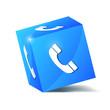 blue service phone cube vector illustration