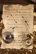 Vintage letter, map, and navigation equipment