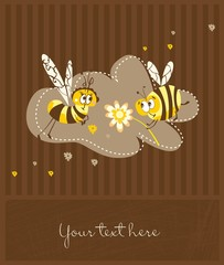Spring vintage card with bees