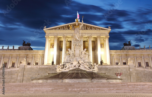 Austrian Parliament in Vienna at night - Austria
