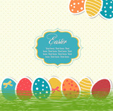 Bright easter eggs card