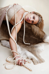 Lady with pearl chains