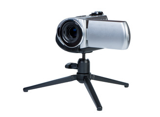 Camcorder on a small tripod