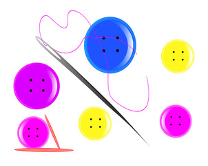 button of different colors with a needle