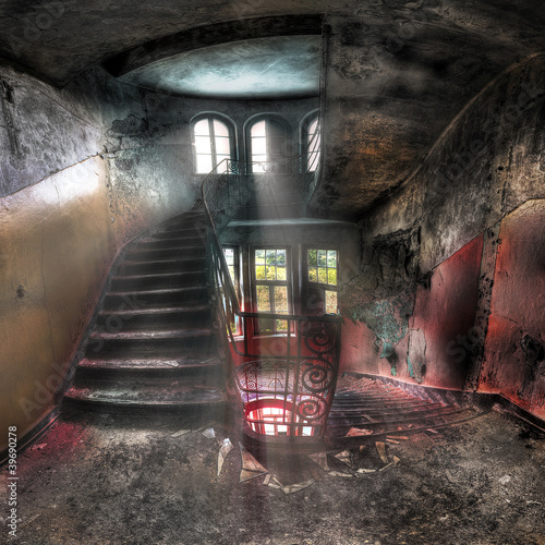 staircases in an abandoned complex - 39690278