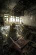 room with broken floor