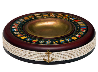 high quality wooden well decorated ashtray closeup isolated over