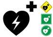 Defibrillator pictogram and signs