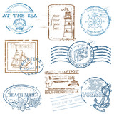 Fototapety Vector Set of Retro SEA stamps - for design and scrapbook