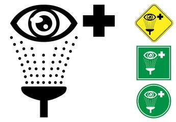 Emergency eye wash pictogram sign icon