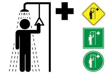 Safety shower pictogram and icons