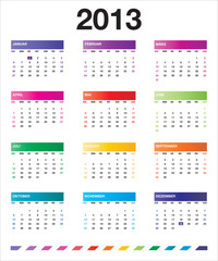 2013 colorful calendar_de