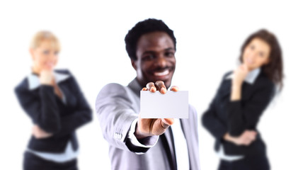 African American businessman holding a white business card