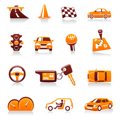 Cars and automotive themes. Vector icon set