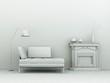 Modell - Sofa vor Kamin