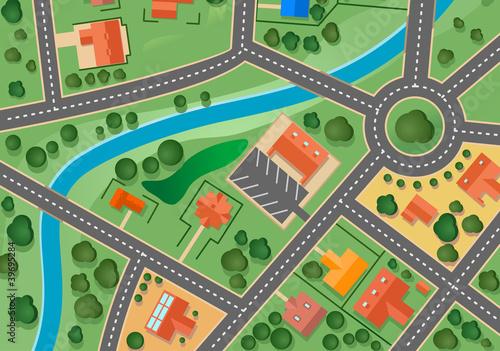 Foto op Plexiglas Op straat Map of suburb village