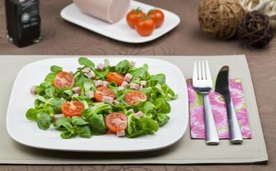 Ensalada de canonigos tomate y pavo