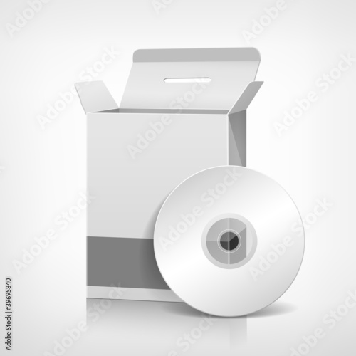 Vector packaging software box template and CD disk