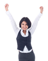 Successful young business woman happy for her success