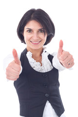 Happy smiling business woman showing thumbs up gesture
