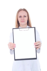 Young woman doctor showing empty blank clipboard sign