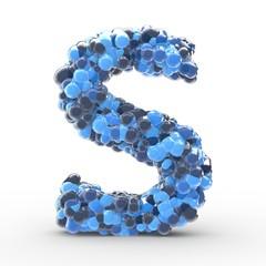 Texteffekt Moleküle blau Buchstabe S