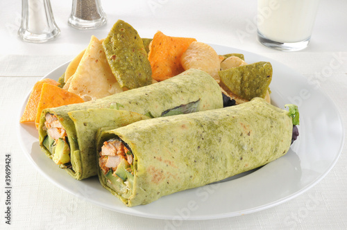 Roasted chicken spring rolls with a glass of milk