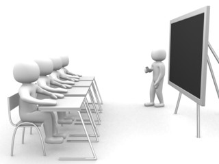 3d person that indicates the blackboard. Concept of education an
