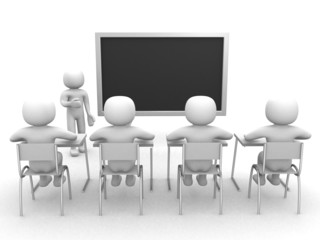 3d person that indicates the blackboard