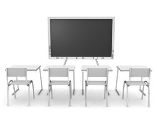 3D render of an empty classroom