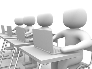 3d small person - operators sitting at laptops. 3d image