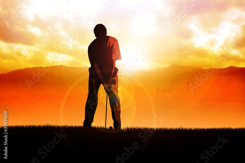 Silhouette illustration of a golfer