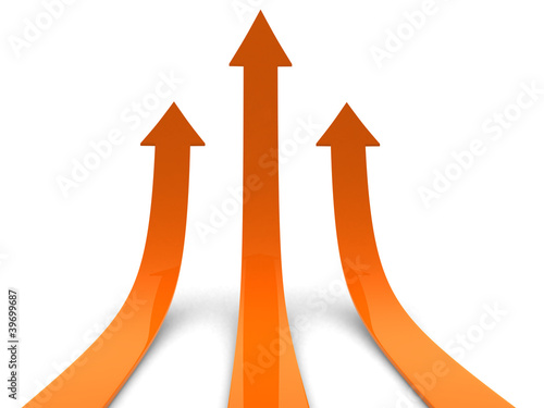 Three orange arrows going up