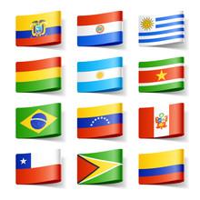 Flagi świata. Ameryka Południowa.