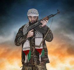 soldier from palestine wearing keffiyeh
