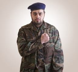 A soldier Honoring ready for sacrifice - clipping path included
