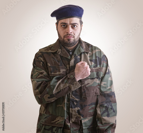 A soldier Honoring ready for sacrifice - clipping path included Poster