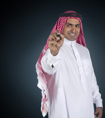 traditional arabian man in a business executive scene