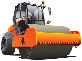 orange road roller