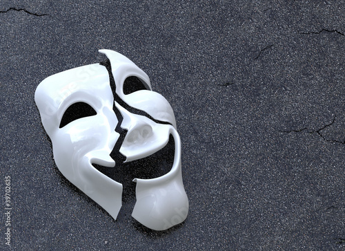 Cracked Mask on asphalt surface. Concept image