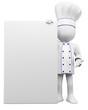 Leinwanddruck Bild - 3D cook with a blank poster