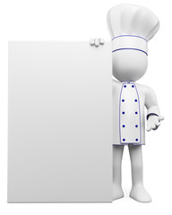 3D cook with a blank poster