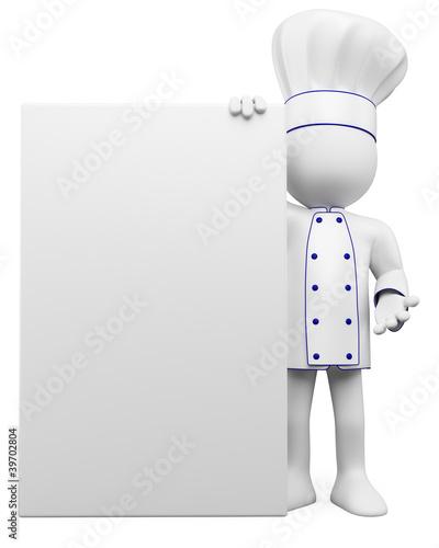 Leinwanddruck Bild 3D cook with a blank poster