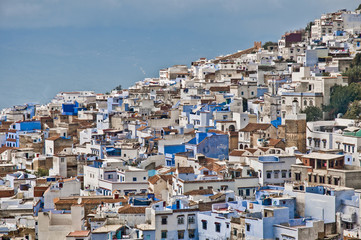 Chefchaouen blue town general view at Morocco