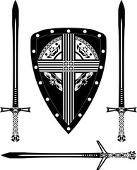 fantasy european shield and swords. stencil