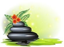 Spa-Benessere Pietre Hibiscus-Zen Stone Health met Bloem