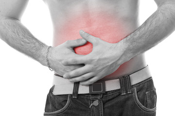 man having stomach pain